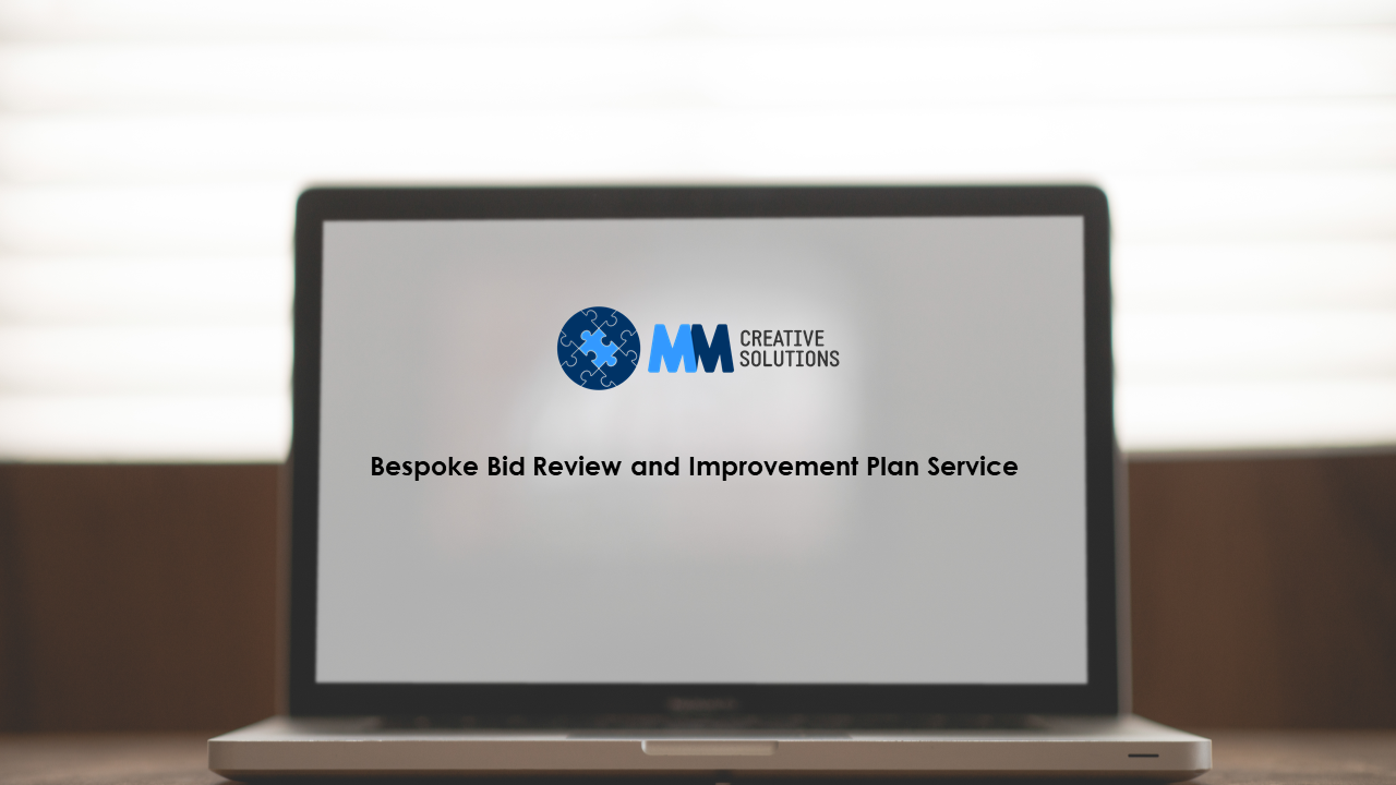 Bespoke Bid Review and Improvement Plan Service - written on a computer screen.